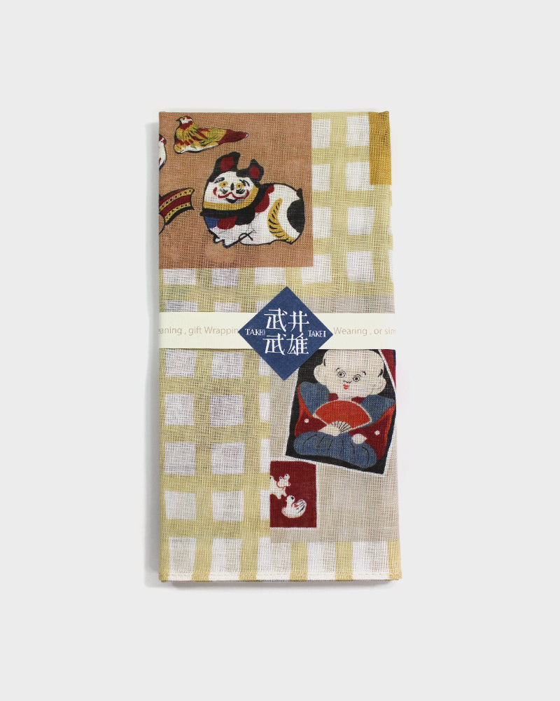 Japanese Handkerchief, Woodblock Prints, Nostalgic Toys