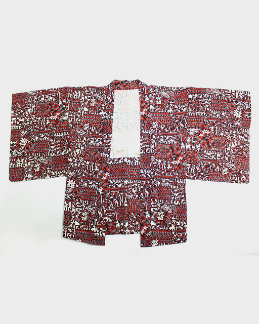 Vintage Haori Jacket, Red and Black Pattern