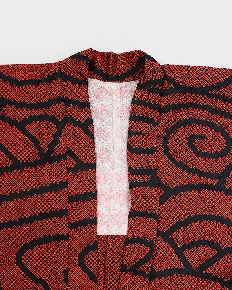 Modern Cut Shibori Haori Jacket, Red and Black Nami
