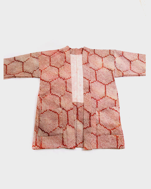Modern Cut Shibori Haori Jacket, Orange Kikko