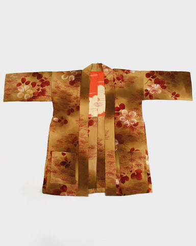 Modern Cut Kimono Jacket, Umber with Bamboo Leaves and Flowers
