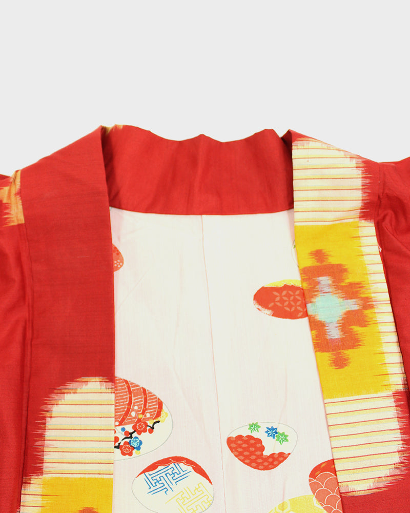Vintage Haori Jacket, Red and Orange Kasuri