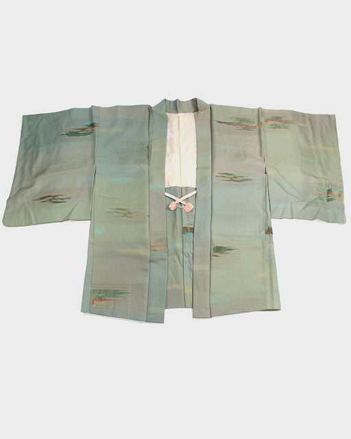 Vintage Haori Jacket, Green Abstract Horizons