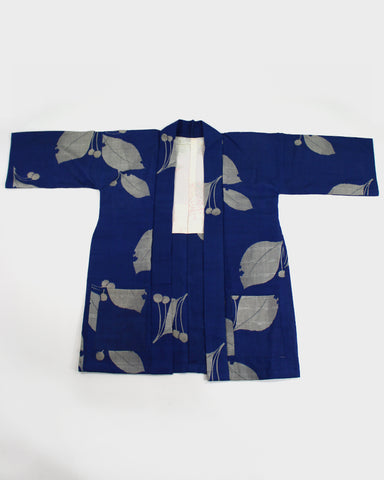 Modern Cut Kimono Jacket, Cobalt Blue with Meisen Grey Leaves