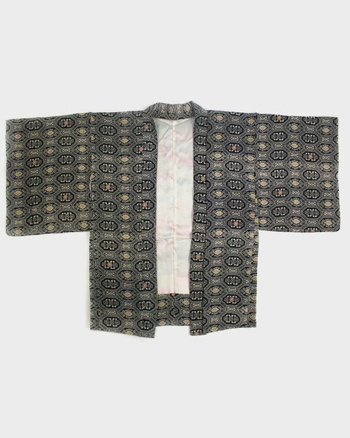Vintage Kimono Haori Jacket, Black and Pink Hexagon