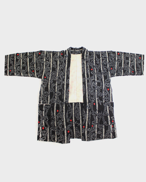 Modern Cut Shibori Haori Jacket, Black and White with Red Spots