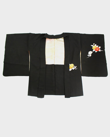 Vintage Kimono Haori Jacket, Black with Yellow and Red Flowers