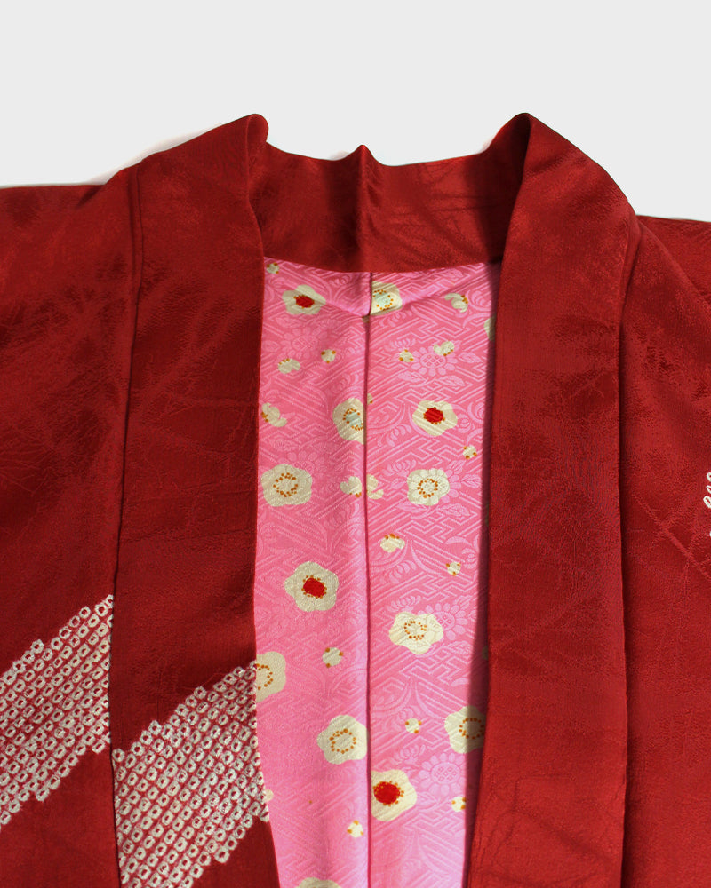 Modern Cut Haori Jacket, Red, Floral Shibori