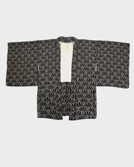 Vintage Kimono Haori Jacket, Black and White Kiku
