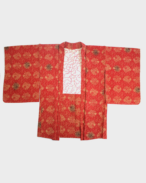Vintage Kimono Haori Jacket, Red and Yellow Same