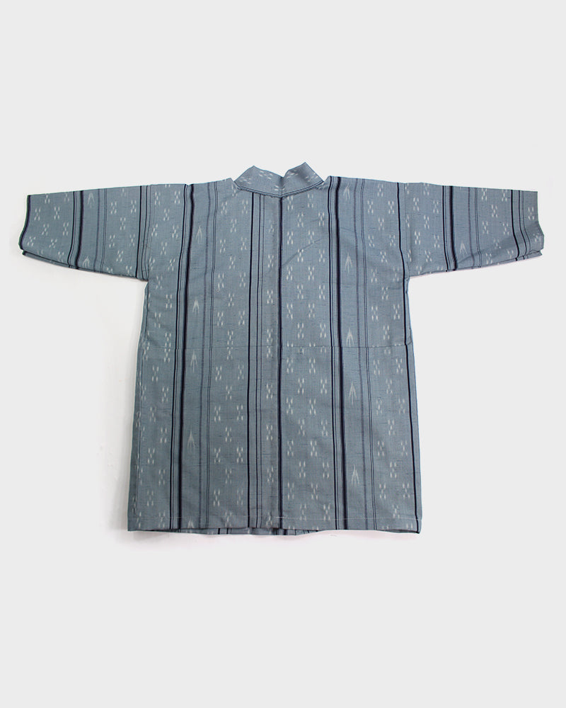 Vintage Haori Jacket, Black and Blue Shim with Kasuri