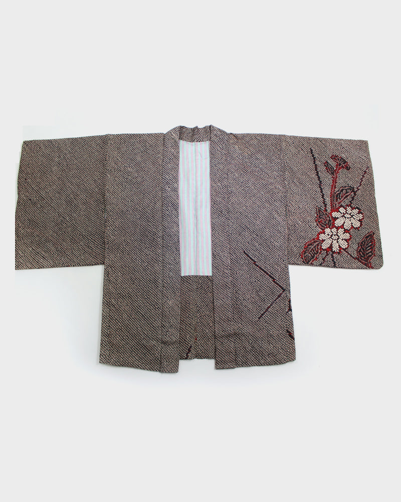 Vintage Haori Jacket, Black and Red Shibori with Flower