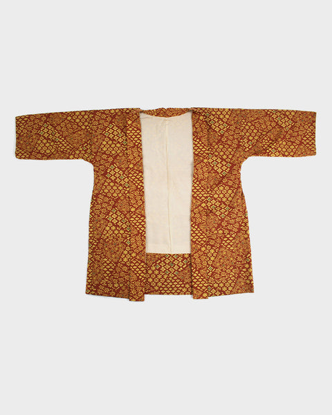 Modern Cut Haori Jacket, Orange Muti Flower Pattern