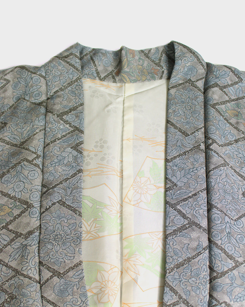Modern Cut Haori Jacket, Grey with Floral Abstract Pattern