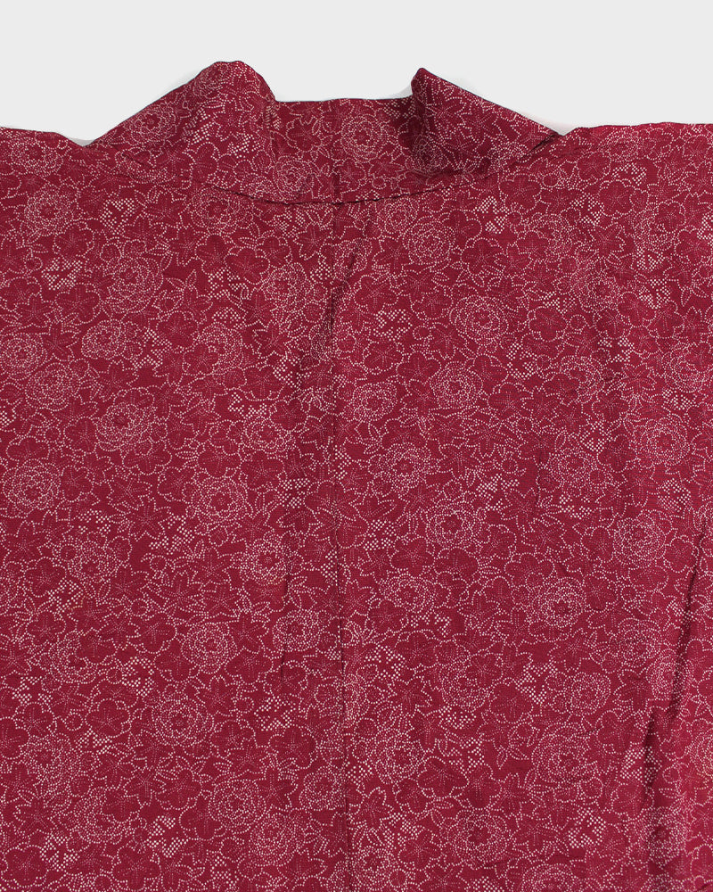 Vintage Haori Jacket, Burgundy Leaves with Kiku