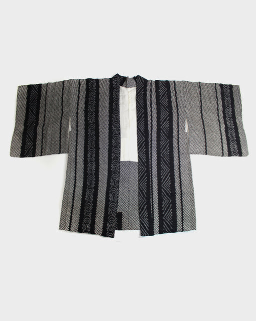 Vintage Shibori Haori, Black & White Vertical Stripes