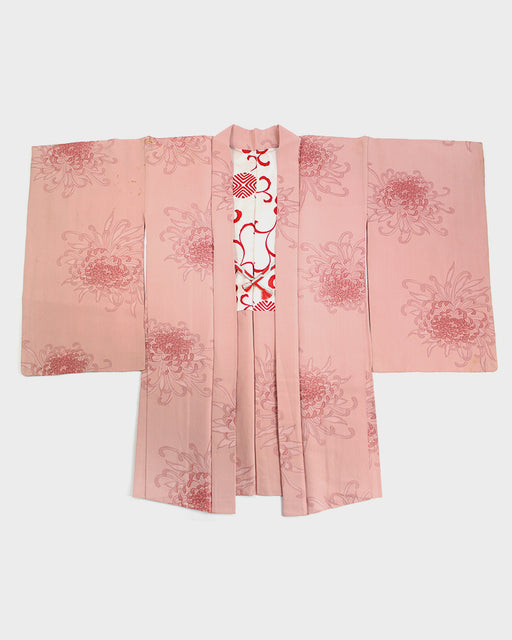 Vintage Haori Jacket, Pink with Kiku
