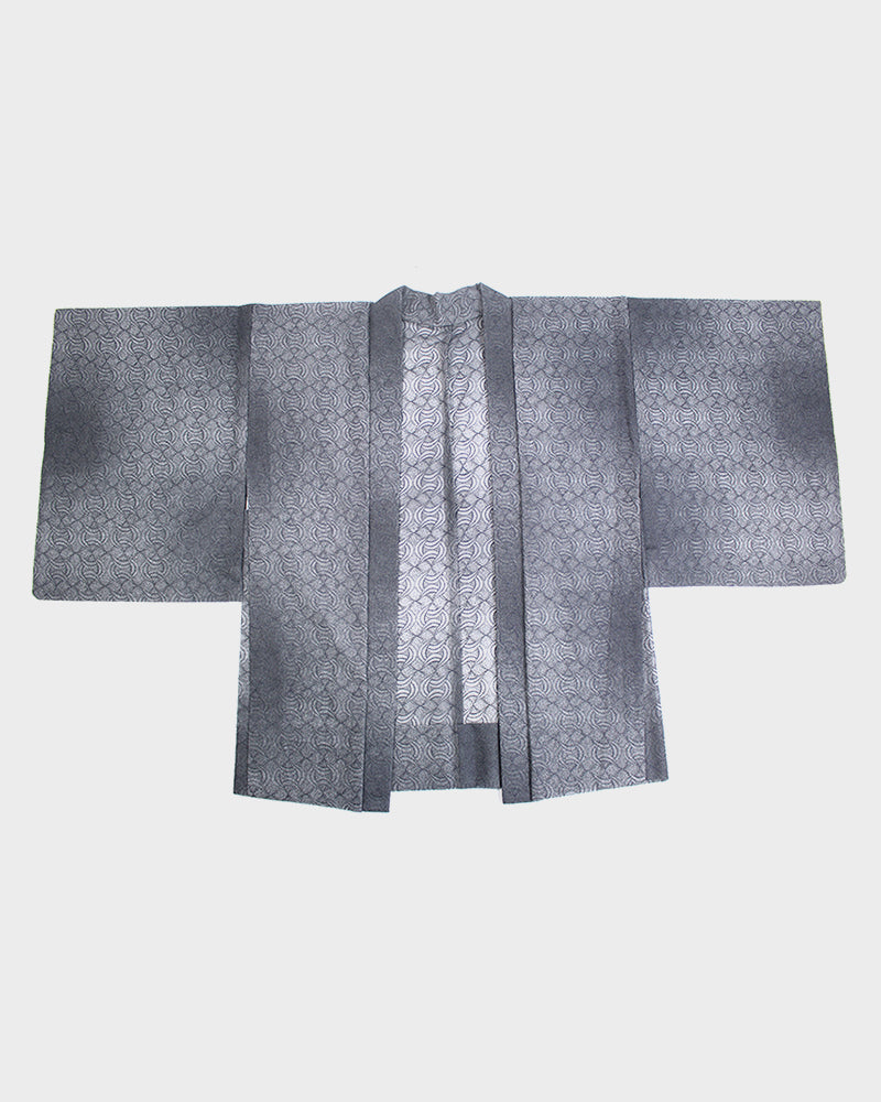 Vintage Kimono Haori Jacket, Grey Abstract Pattern, Open Weave