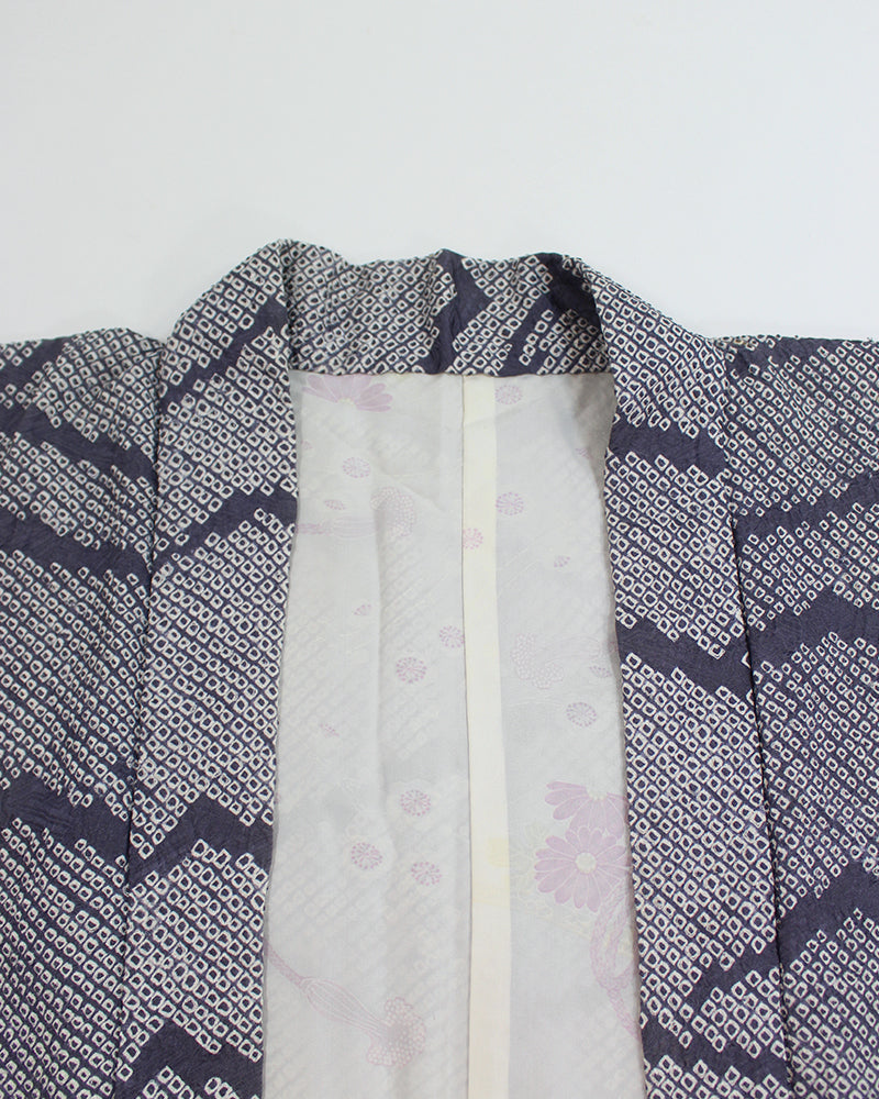 Vintage Shibori Haori Jacket, Purple Mountains