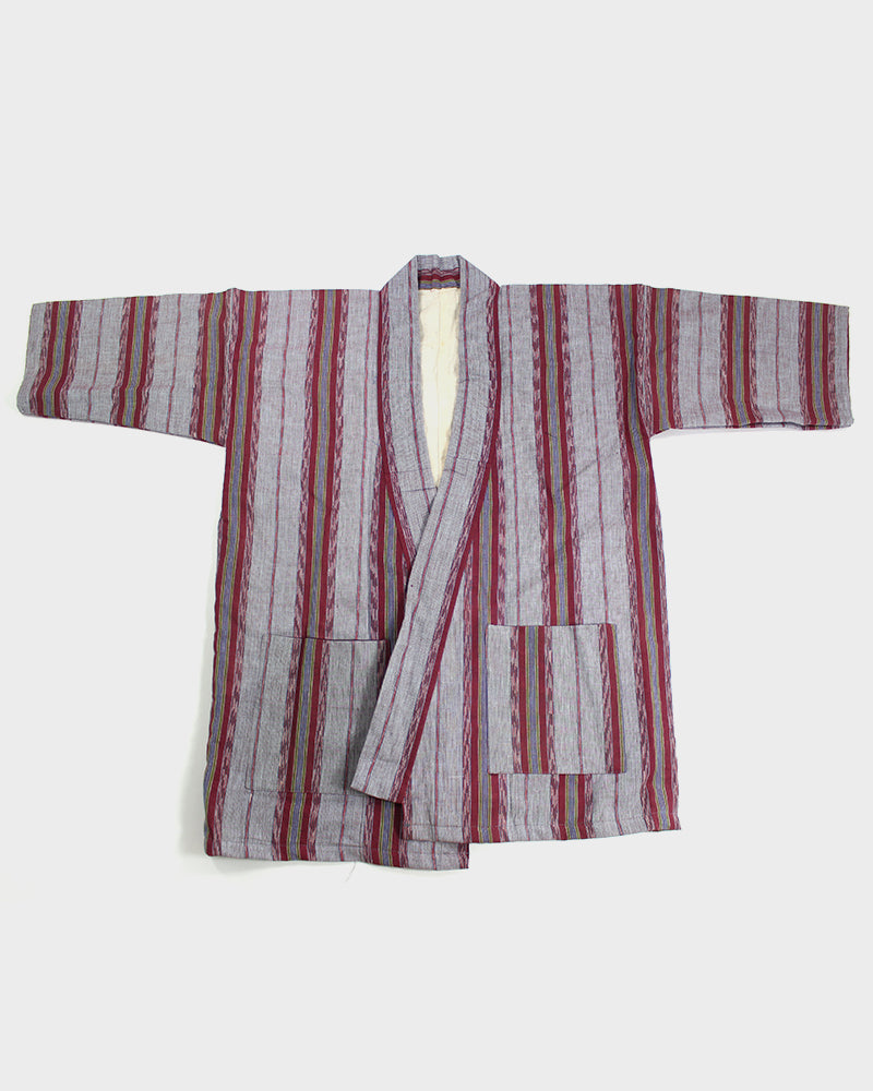 Altered Kimono, Cotton Kasuri, Magenta and Lavender Shima