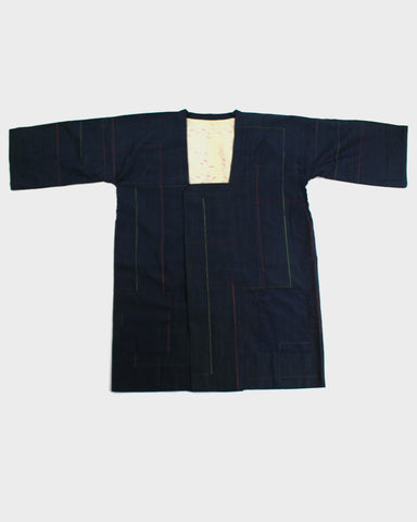 Modern Cut Michiyuki Jacket, Dark Navy with Colorful Lines