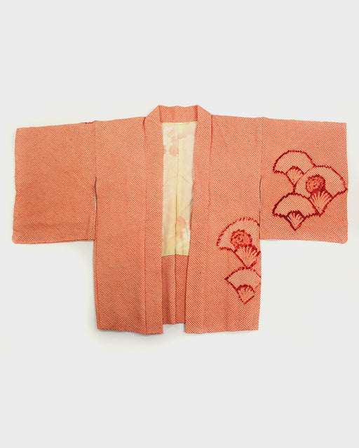 Vintage Shibori Haori Jacket, Red and Orange