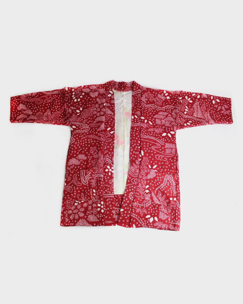 Modern Cut Shibori Haori, Red and White Floral