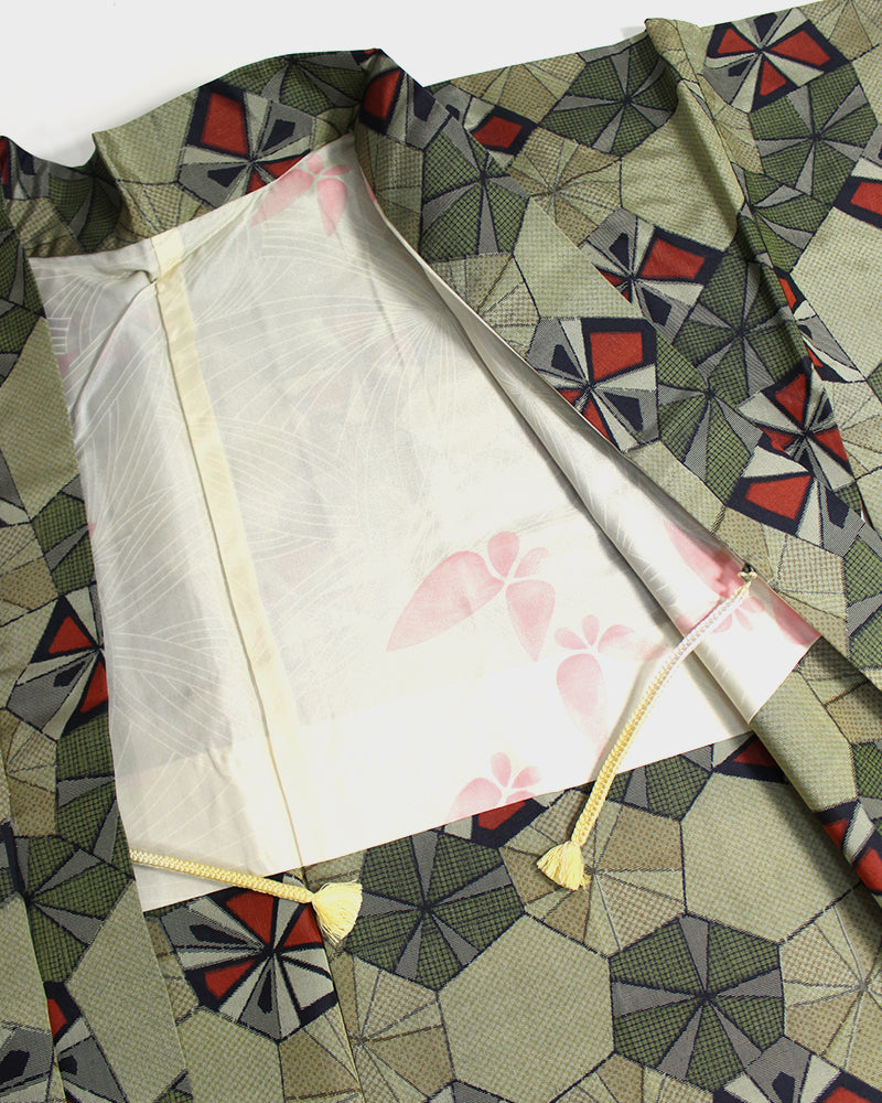 Vintage Haori Jacket, Yellow Green & Red Abstract Parasol