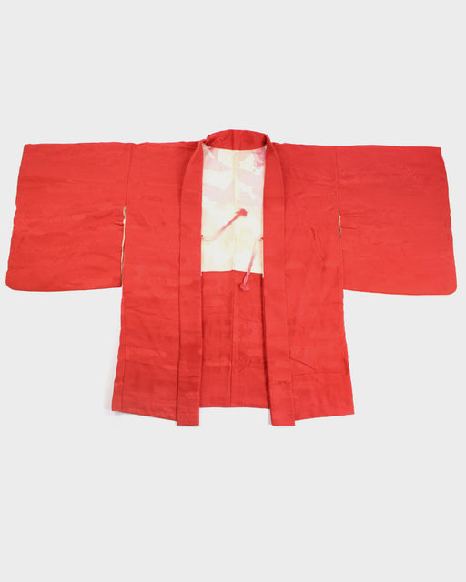 Vintage Kimono Haori Jacket, Red Kumo and Seigaiha