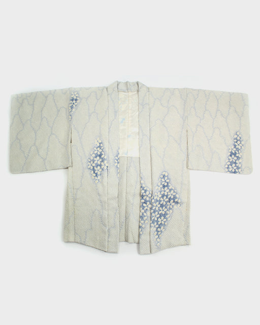 Vintage Shibori Haori Jacket, White and Blue Floral