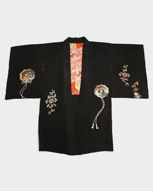 Vintage Kimono Haori Jacket, Dark green with Orange Embroidery