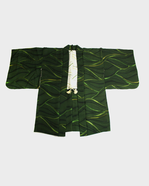 Vintage Haori Jacket, Green Waves