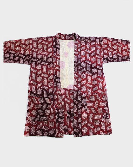 Modern Cut Shibori Haori Jacket, Red Abstract Pattern