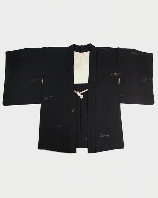 Vintage Haori Jacket, Black with Gold & Silver Islands