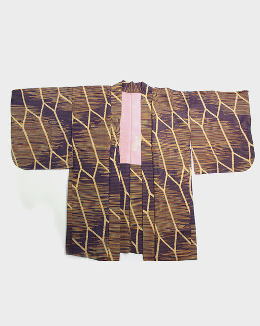 Vintage Haori Jacket, Purple and Orange Shima