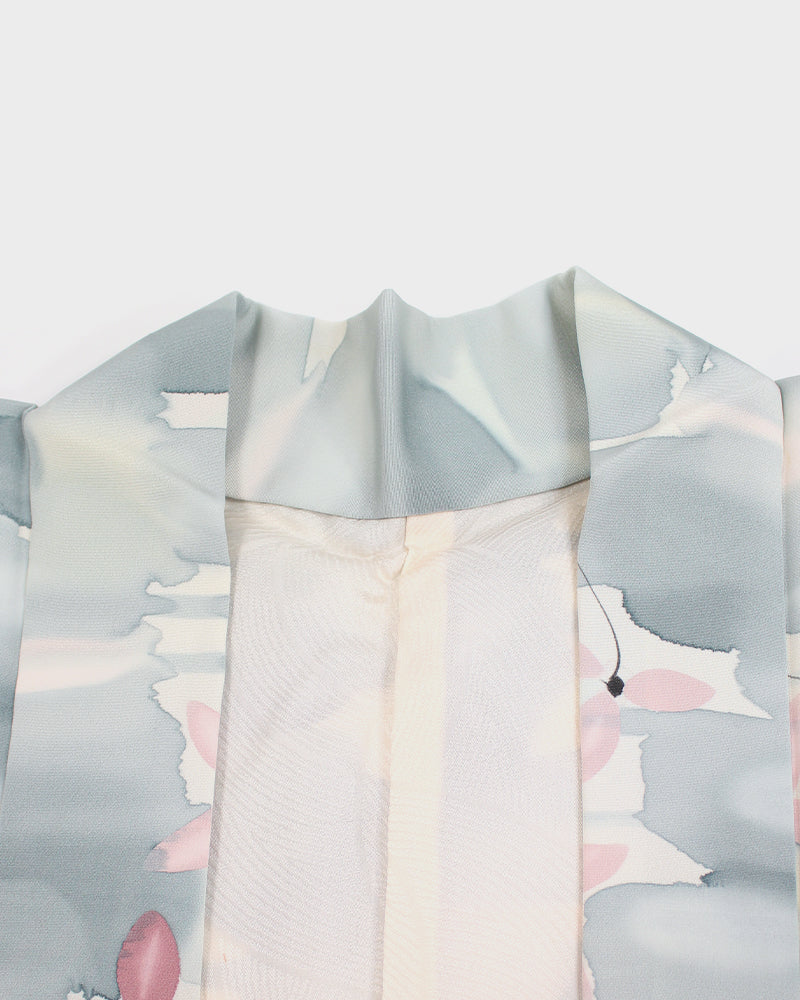 Vintage Haori Jacket, Blue and Pink Watercolor