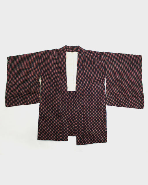 Vintage Haori Jacket, Black and Red Urokumon Variation