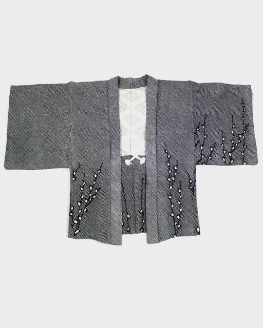 Vintage Haori Jacket, Black Shibori with Branches of Buds