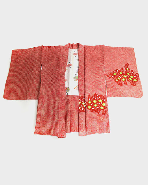 Vintage Shibori Haori, Abstract Red with Green Flowers