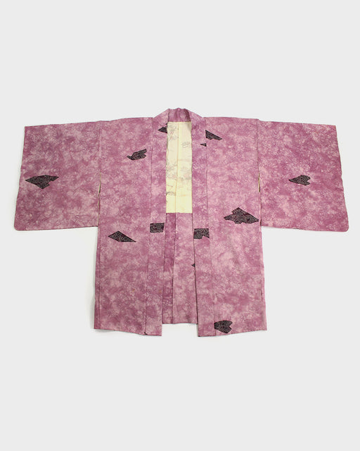Vintage Kimono Haori Jacket, Washed Pink and Flowers