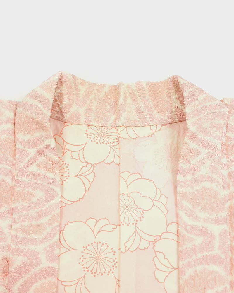 Vintage Shibori Haori Jacket, Light Pink Multi Pattern
