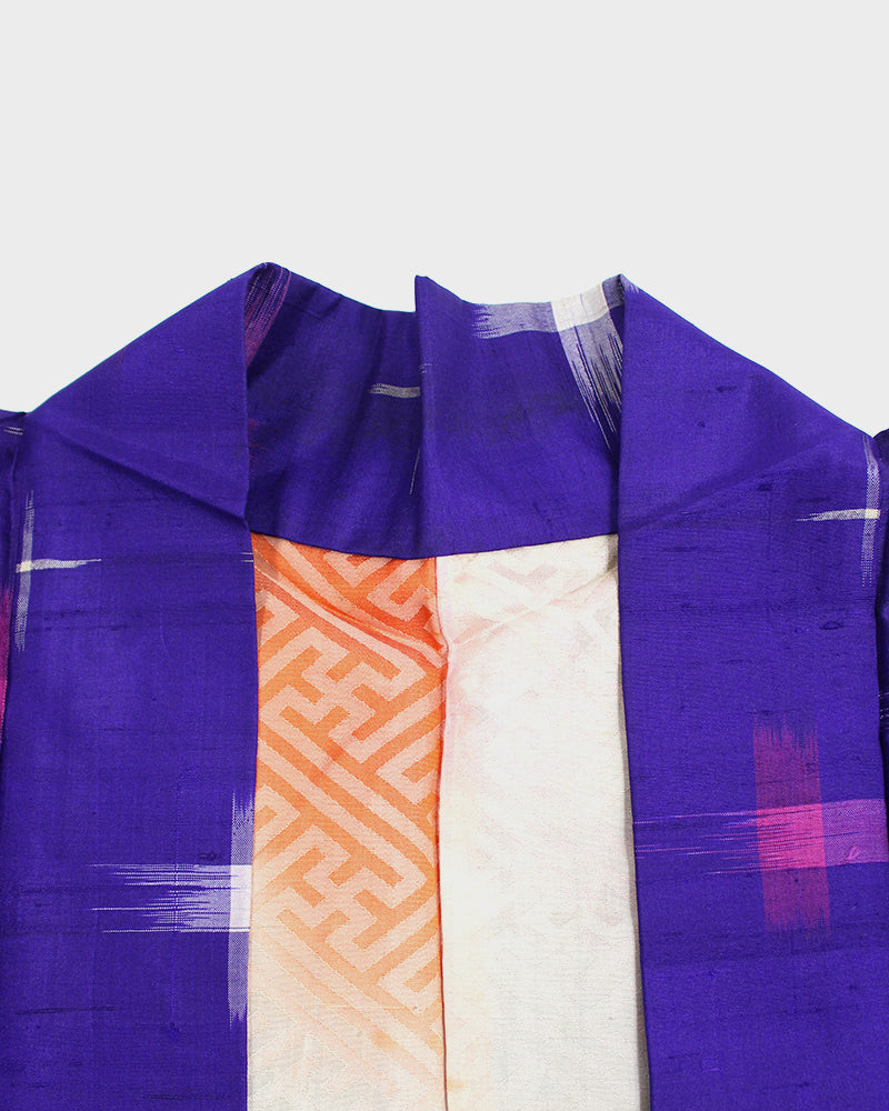 Vintage Haori Jacket, Bright Purple and Pink Kasuri