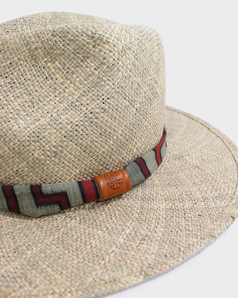 Sea Grass Straw Panama Hat, Tsumugi Silk, Maze