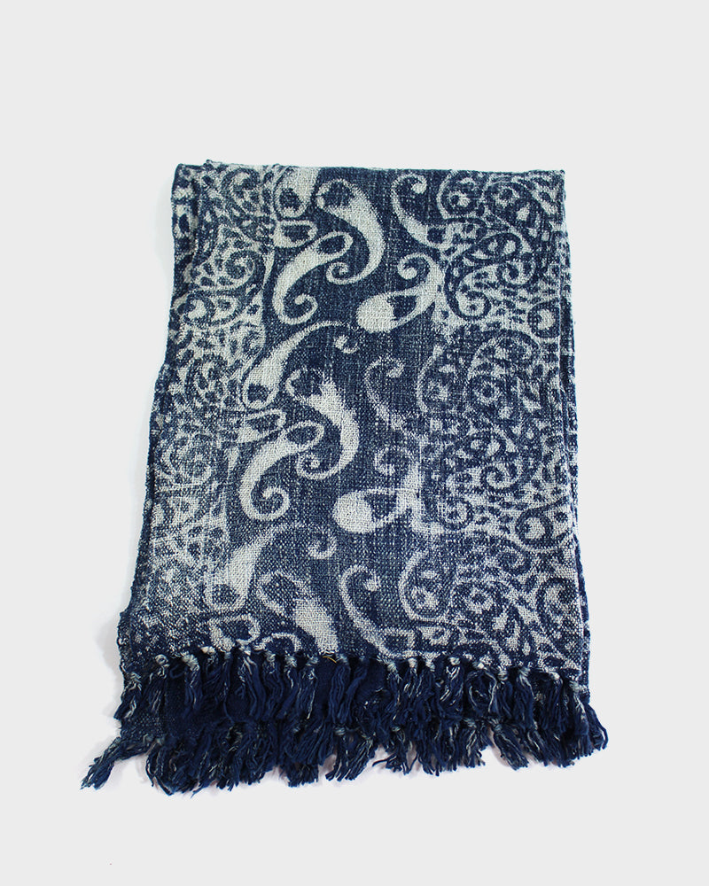 Indian Scarf, Indigo Paisley