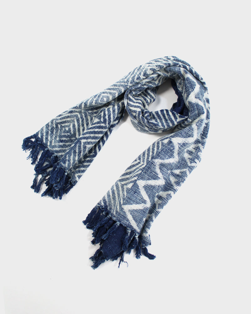 Indian Scarf, Indigo Geometric Square Pattern