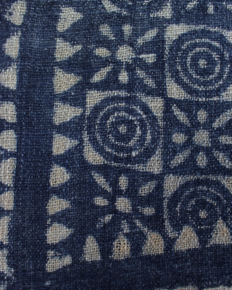 Indian Scarf, Indigo Circle and Flower Grid