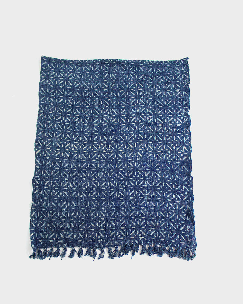 Indian Scarf, Indigo Spark Pattern
