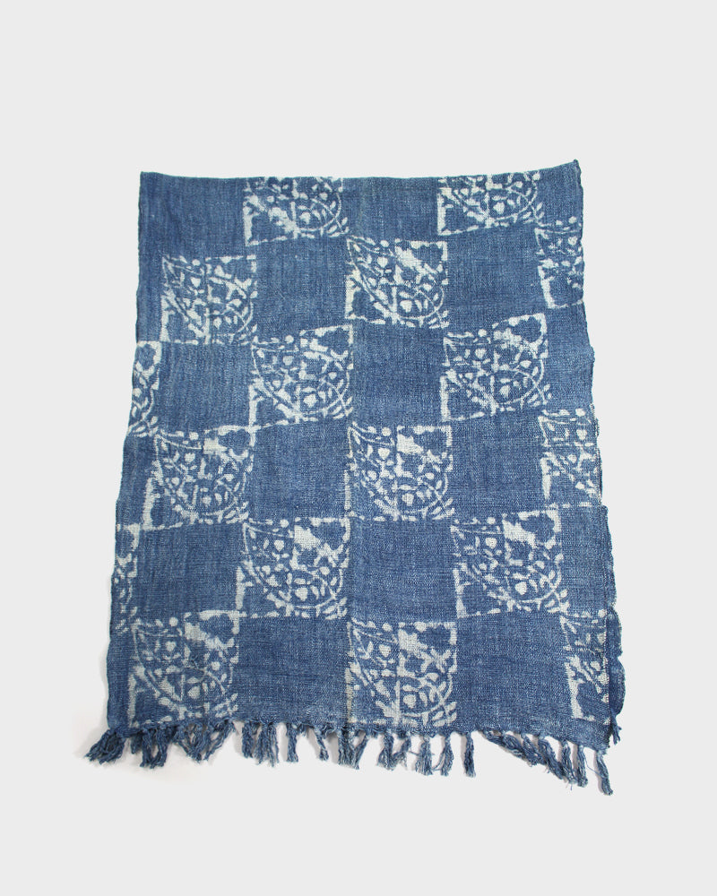 Indian Scarf, Indigo Checkered Pattern