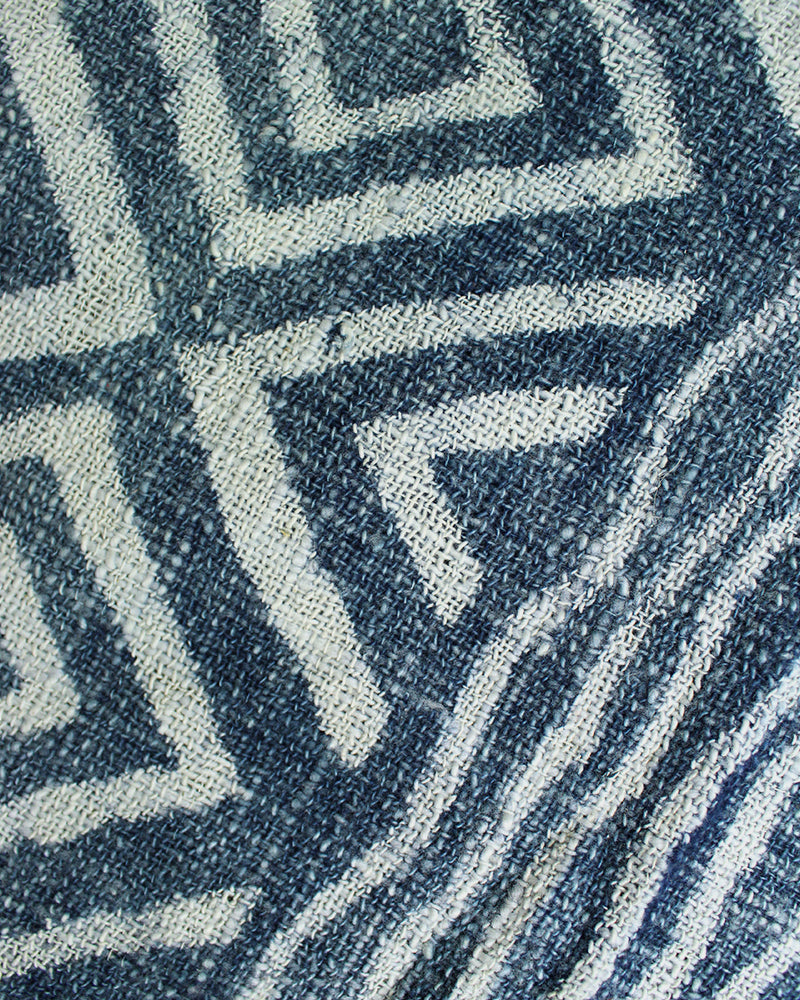 Indian Scarf, Indigo, Shima with Diamond Pattern