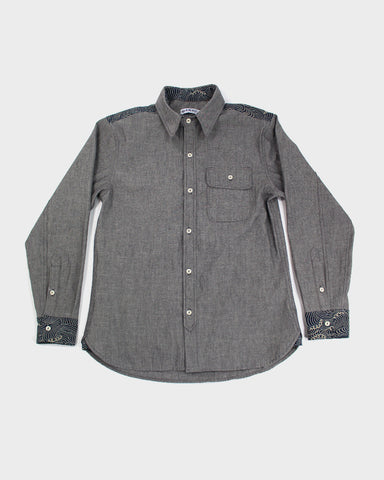 Long Sleeve Button-Up Katazome Gray Chambray Shirt, Nami